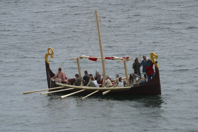 Viking longship in open water with furled sail. Copyright: John Doherty Northern Ireland. With thanks for allowing us to use this picture.