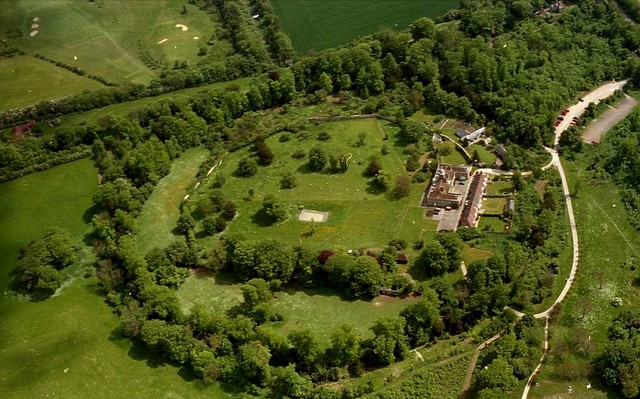 An aerial photograph of an Iron Age Fort situated in Wandlebury near Stapleford