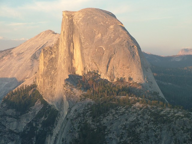 Half dome viewed from the top of Glacer Point at Sunset in August 2004