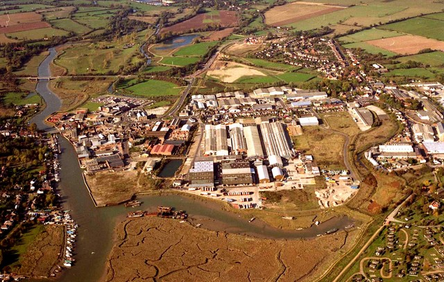 Industrial development beside river in Maldon looking in an easterly direction.