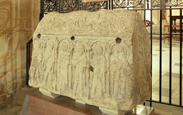 The Hedda stone is situated within Peterborough Cathedral and is the only remains of the original abbey.