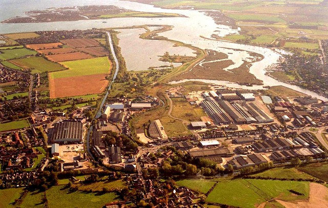 Industrial development beside river at Maldon looking in an easterly direction.