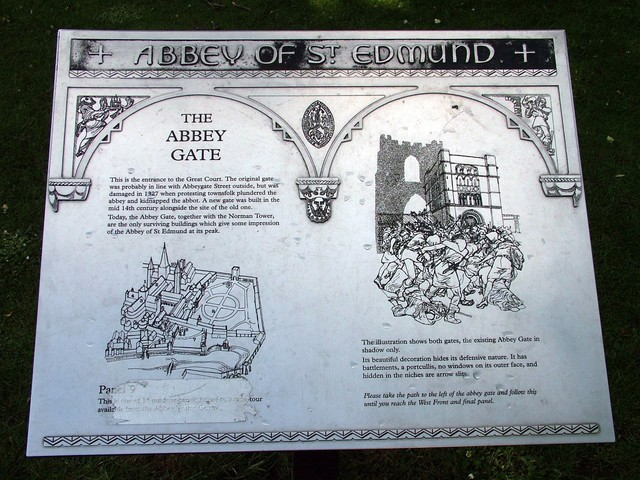 Plaque outlining the history of the Abbey
