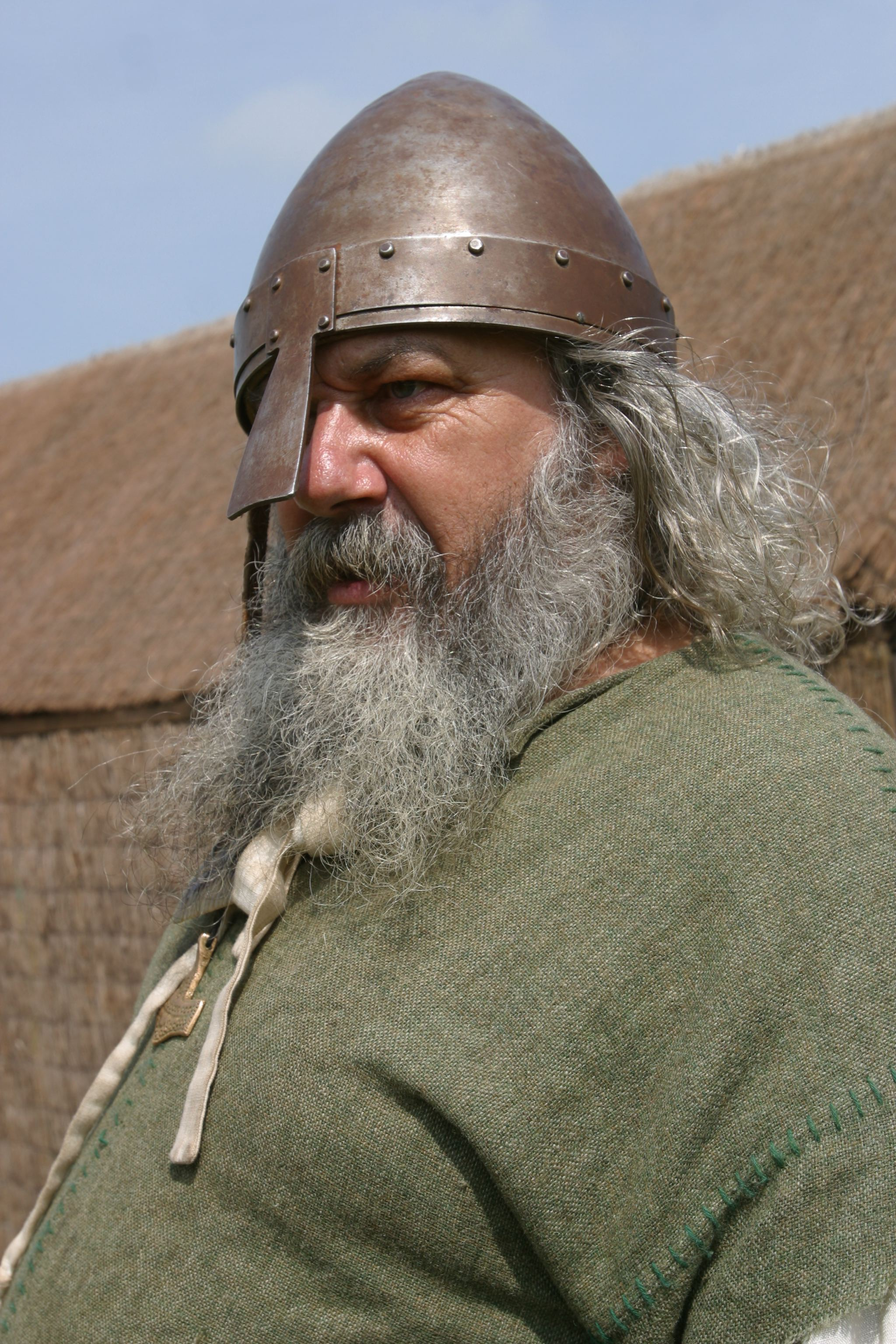 Close up of Viking warrior in helmet. Picture by John Doherty