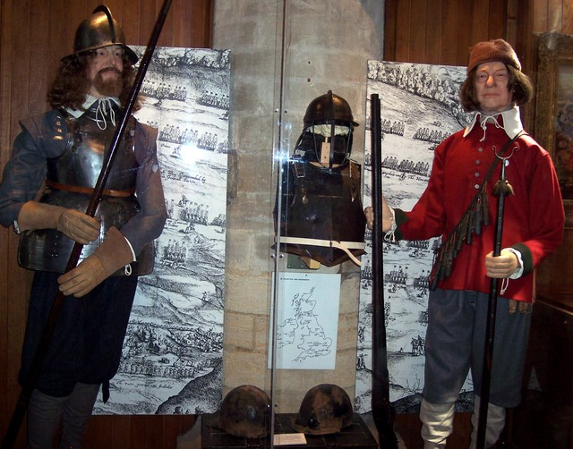 A display of the sort of uniforms worn by soldiers in the civil war in the 17th century, housed at the Cromwell Museum, Huntingdon