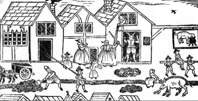 Elizabethans knew of the need for personal cleanliness, but  water supplies, mainly wells and streams, could become contaminated as there was no system to remove human and animal waste.  Livestock markets were held in the streets where the cattle were also slaughtered. 