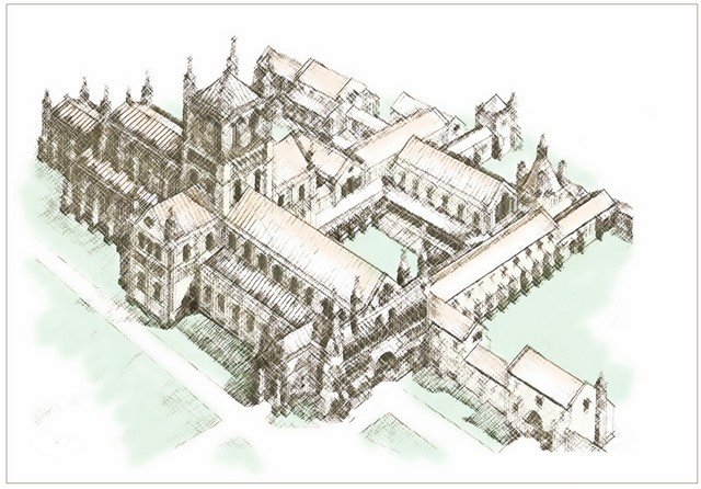 A drawing of how Dunstable Priory would have looked in the 14th Century.