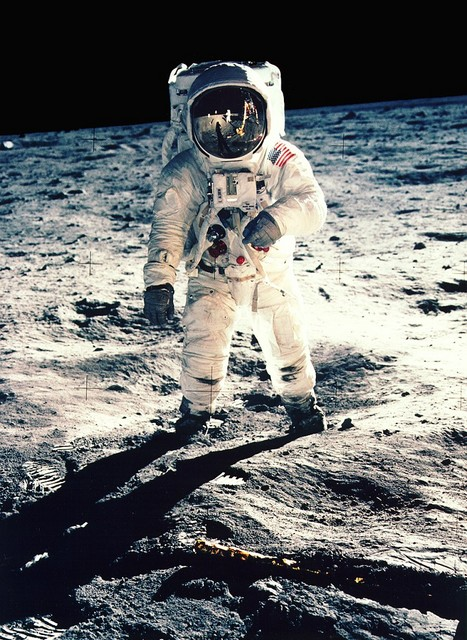 The now famous picture of Buzz Aldrin walking on the moon taken by Neil Armstrong in 1969, when the Apollo 11 mission saw the first Moon landing.  The Apollo 11 moon landing evened the score in the Space Race, and with equal impact worldwide of Sputnik and Gagarin. Americans stayed up late the night...