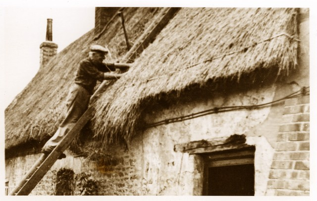 The picture shows a thatcher working at West End Stagsden in the 1920�s. Thatching is the craft of covering a roof with vegetative materials such as Long Straw, Combed Wheat Reed or sedge. 