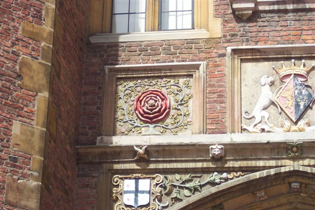 The Tudor Rose on the Gatehouse of St John's College. St John's College is a constituent college of the University of Cambridge, founded by Lady Margaret Beaufort in 1511.