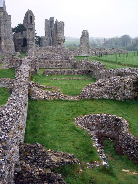 The Benedictine Binham Priory was founded around 1091 and closed in 1539 The Priory was built in a romote location in Norfolk and was once an extensive building.  The original layout can still be seen from the ruins.