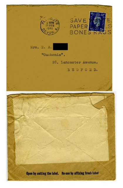 During the war, everything was saved and reused as this envelope shows.  The front urges people to save their paper and rags and the back suggests reusing the envelope by sticking on another label.