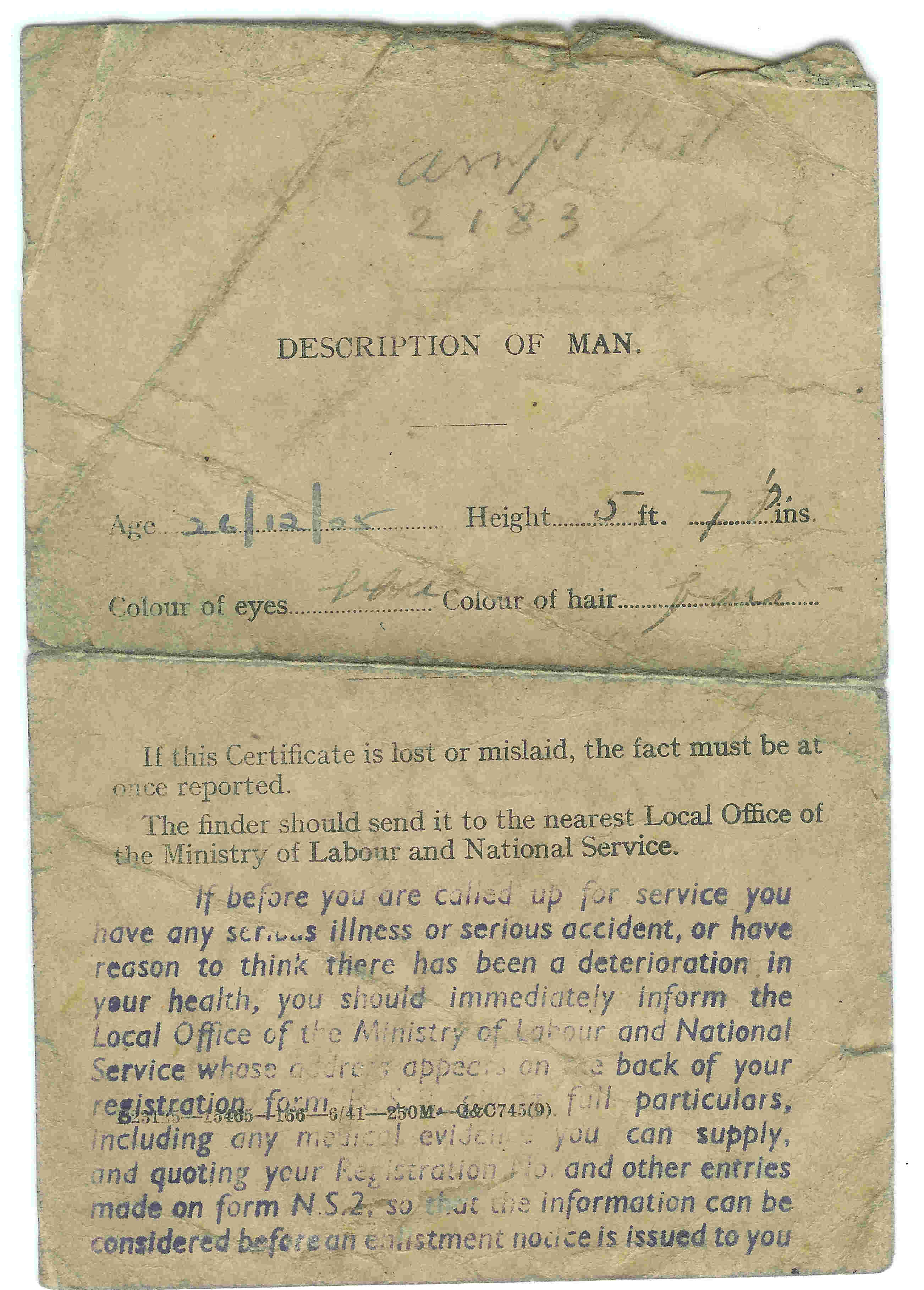 On the rear of the Grade Card was the Description of the man and instructions