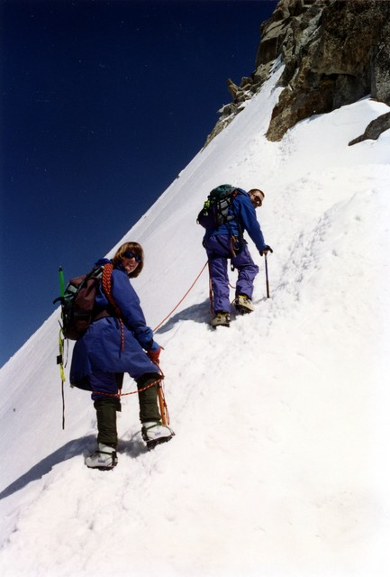 The Mont-Blanc range is unique in the world as it offers a tremendous range of climbs which are very accessible and challenging.  Here the climbers are.....?
