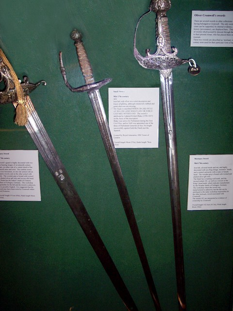 The 17th century saw civil war, after a long dispute between King Charles 1 and Parliament. During the English Civil War, the Parliamentarians (Roundheads) and Royalists (Cavaliers) fought many fierce battles. These swords are claimed to have a link with Oliver Cromwell, who became Lord Protector af...