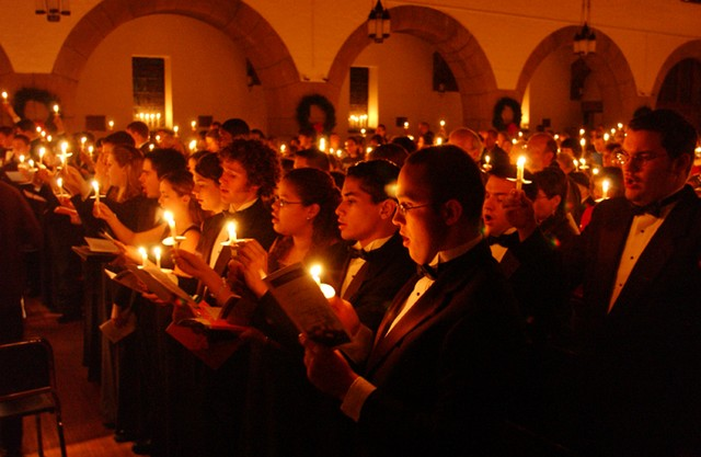 One of the most popular types of carol services are Carols by Candlelight. At this service, the church is only lit by candle light.  Carols by Candlelight services are held in countries all over the world.