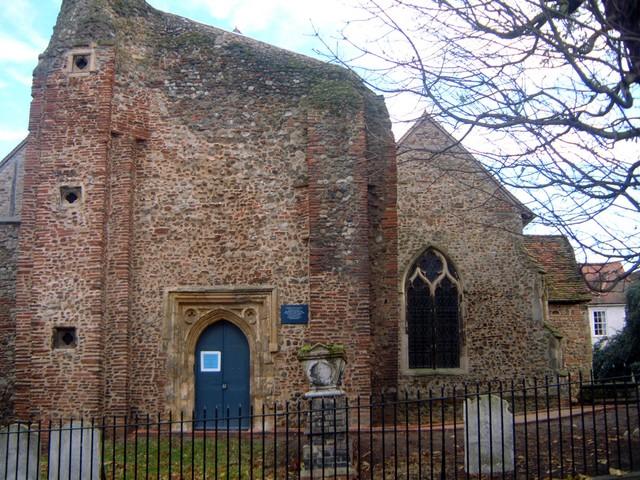 The Siege of Colchester, during the English Civil War in 1648, had a significant impact on the town.  The tower of this church, situated in the Dutch Quarter in West Stockwell Street, was badly damaged by cannon fire. The truncated tower was never rebuilt.