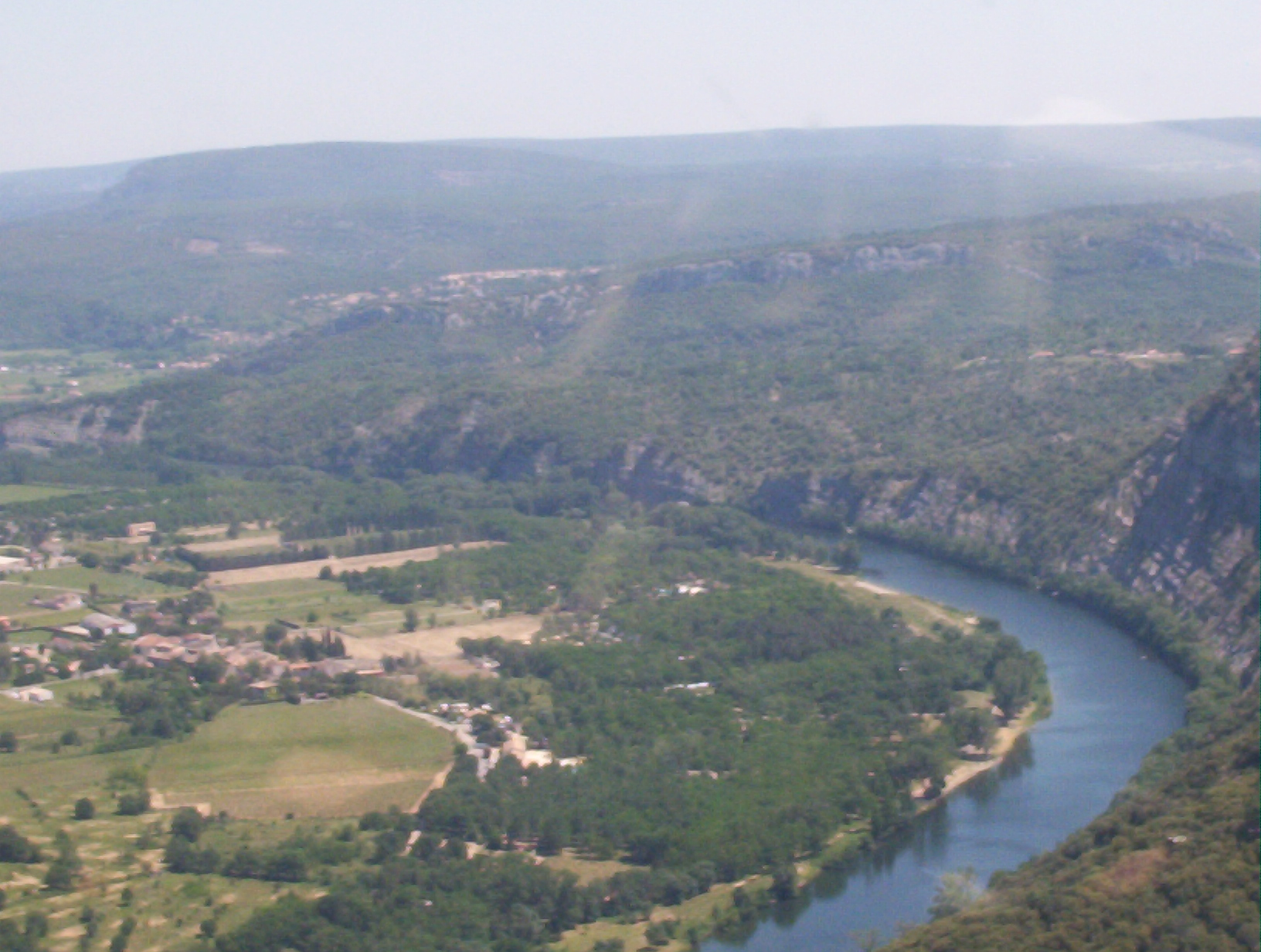 Photographs of the Ardeche river and gorge, mostly taken from the air during a short flight over the Ardeche Gorge.