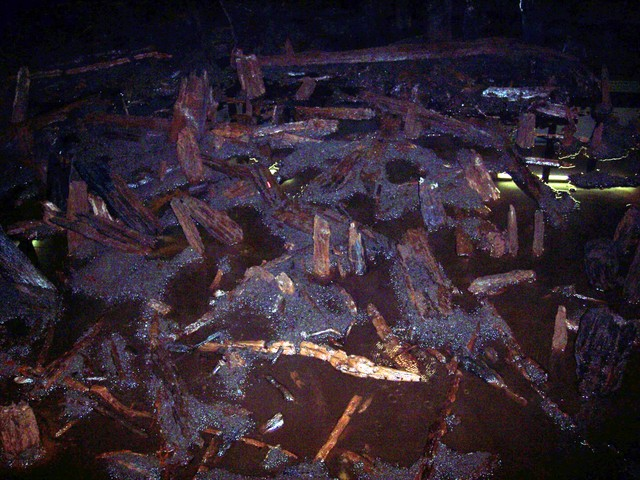 In 1982 a team of archeologists discovered the remains of the Flag Fen post alignment. These excavations were opened to the public as a visitor attraction in 1987.  The timbers shown in the picture are the original 3000 year old timbers, kept wet to preserve them. Picture taken on 6th August 2006 at...