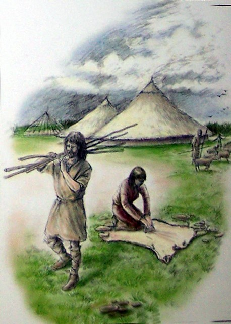 About 750BC a new metal was introduced -iron, which was stronger and easier to make into a wider variety of items than bronze. Artists impression of life at Flag Fen during the Iron Age.