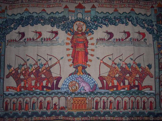 The story of St Edmund's death is shown on a tapestry in the Cathedral that was made in the 1950's.