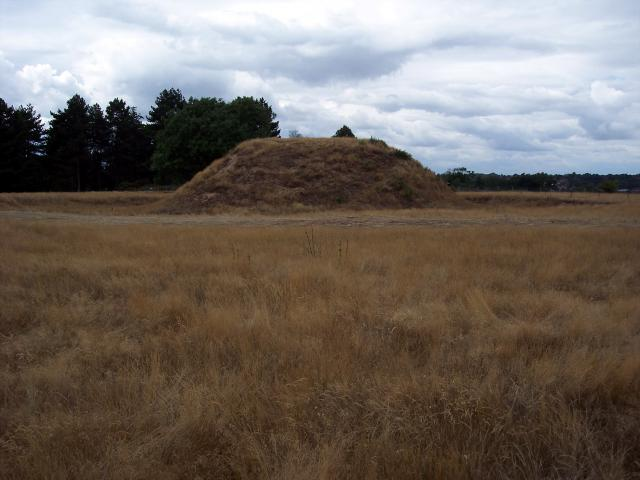 This is mound 2 at Sutton Hoo. It was opened in 1938 but was found to be plundered. However they found traces of an Anglo-Saxon boat and a further excavation in the 1980's found evidence that a body had been present.