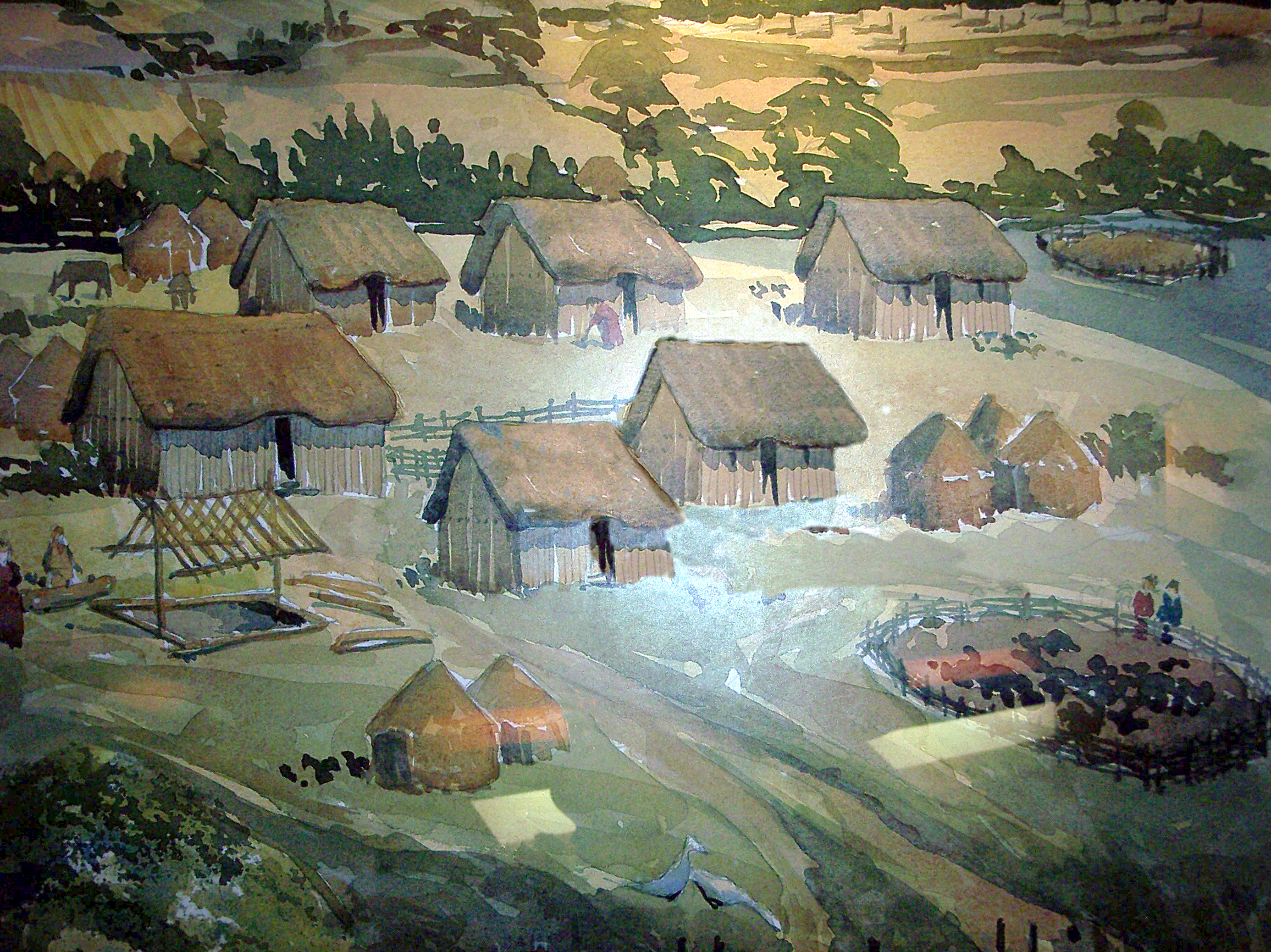 Artists impression of an early Anglo-Saxon village. Anglo-Saxon family groups consisted largely of farmer-warriors. They had little interest in the Roman towns and clustered on newly conquered farmland. Their lives centred on the village and farm. In the hall of the leader they told tales of old war...