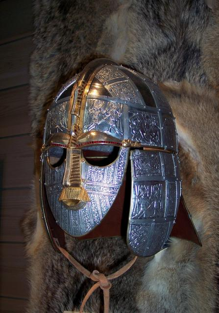 After excavation of a ship burial at Sutton Hoo in Suffolk, the finds were studied and dated. Broken and crushed fragments were reassembled. One of the reassembled items was a helmet. It was decorated with figures similar to those found in Sweden and Germany. The rich grave was thought to be an Angl...