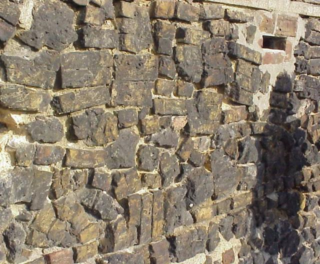 This wall was made from reject bricks made at the brick factory in Grays.