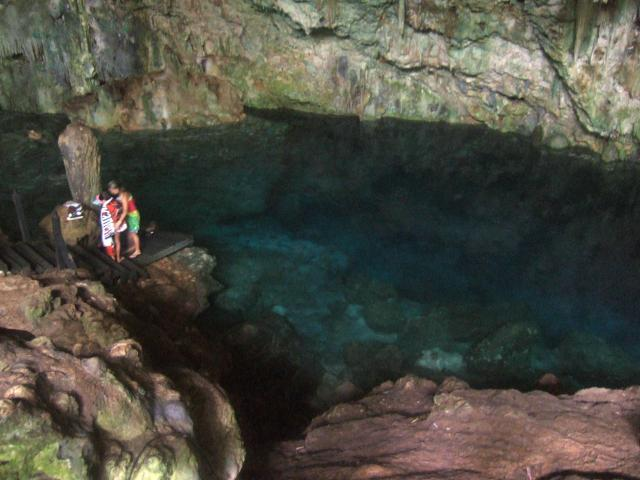 People go snorkiling in the caves. The water is very clear but very cold.