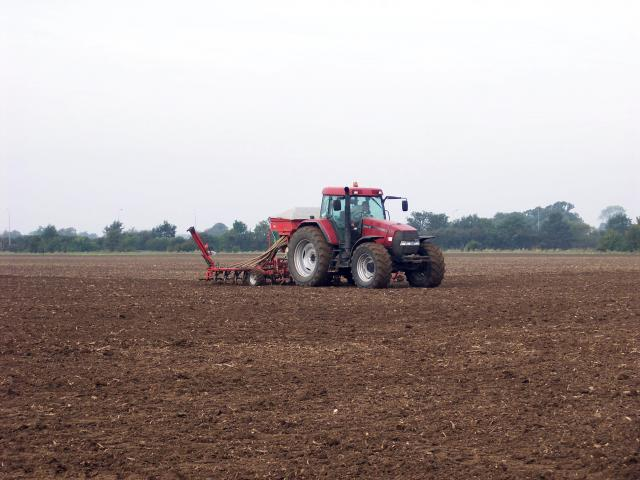 Drilling or seeding the field with winter wheat. Picture taken at Saltmore Farm, near Hinxworth, Hertfordshire - September 27th 2006.