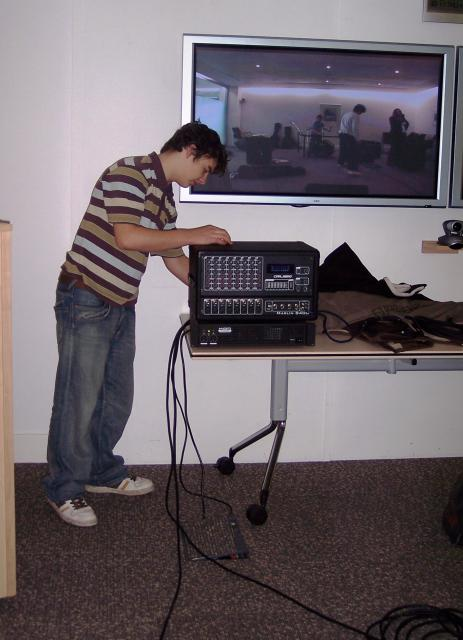 SamAsh Hits -East of England finalist in the Schools Rock Idol Competition 2006 at Endeavour House, Ipswich County Council Offices. The final was conducted over video conferencing with entries from across the UK. Here they are setting up the equipment.
