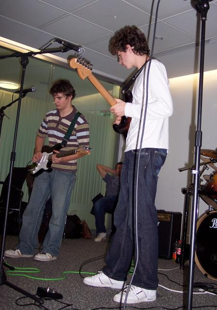 SamAsh Hits -East of England finalist in the Schools Rock Idol Competition 2006 at Endeavour House, Ipswich County Council Offices. The final was conducted over video conferencing with entries from across the UK. Judges over VC link. In this picture Ash and Sam on guitar.
