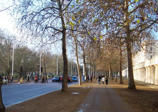 The Mall runs from Buckingham Palace at its west end to Admiralty Arch and Trafalgar Square at its east end.   On the south side of the Mall is St James Park. The Mall was created as a ceremonial route in the late 19th and early 20th centuries, intended for use in national ceremonies. Picture taken ...