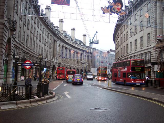 Regent Street is a major shopping thoroughfare in London�s West End. It is named after the Prince Regent (later George IV). It was was originally built by John Nash, however all of his buildings were replaced with larger ones in a Neo-baroque style designed by Reginald Blomfield in the 1920�s   It r...