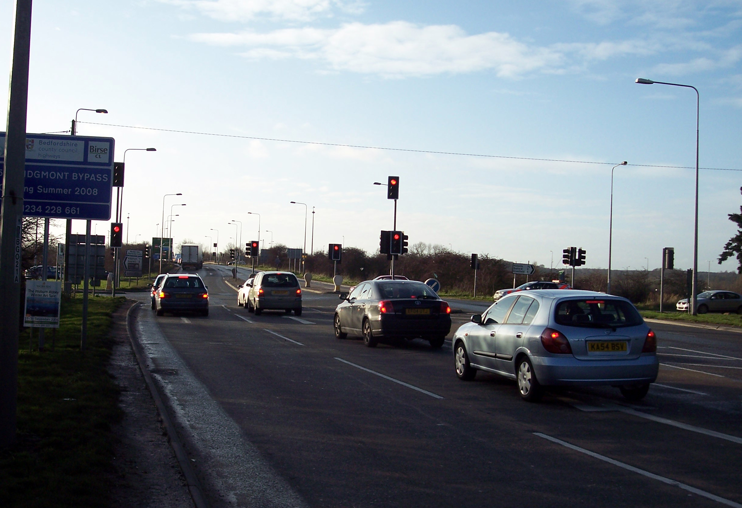 Approaching Junction 13 to join the M1. Picture taken 30th December 2006.