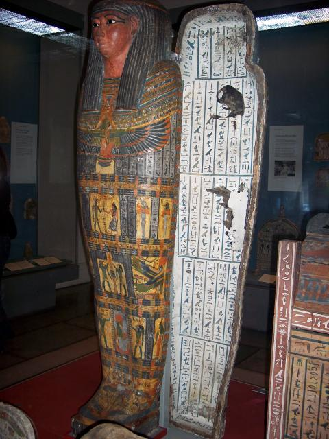 One of many officials of Thebes of the cult of the god Monthu, buried in New Kingdom tombs in the 25th and 26th Dynasties; or in vaults beneath the temple of Hatshepsut at Deir el-Bahri. Showing the outer and inner coffins, and the shabti-boxes. The mummy and other goods have not been traced and so ...