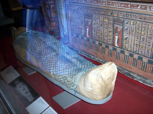 Painted wooden outer coffin of the Prophet of Montu Hor, 25th Dynasty about 700BC from Thebes. Picture taken at the British Museum January 2007.