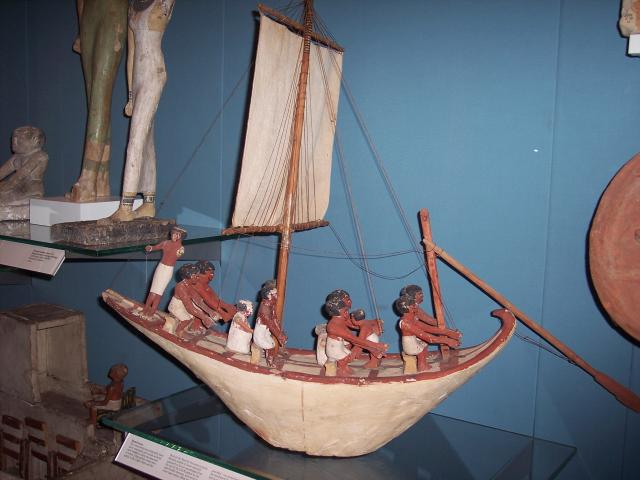 Model of an Egyptian boat. Picture taken at the British Museum January 2007.