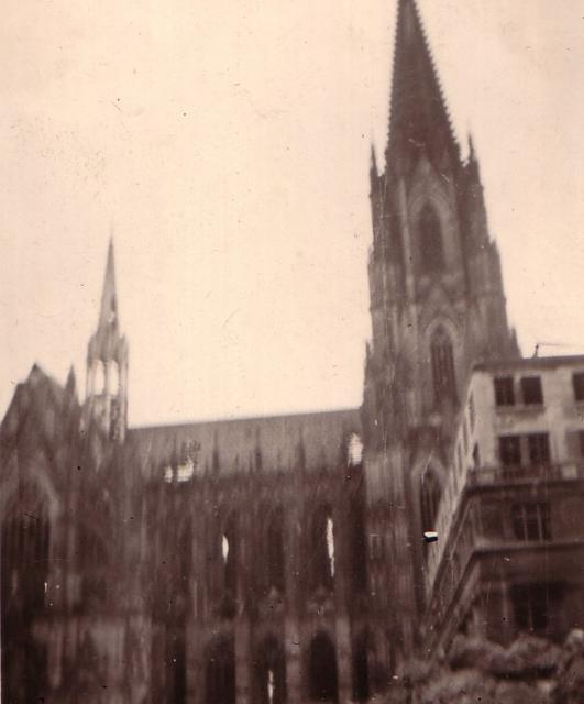 These pictures were taken in late March 1945 by my father as he travelled through Germany, with his unit, as the war was drawing to an end. They show the considerable destruction done to the city of Cologne. It is thought that the raid which caused this damage happened on the 2nd March 1945