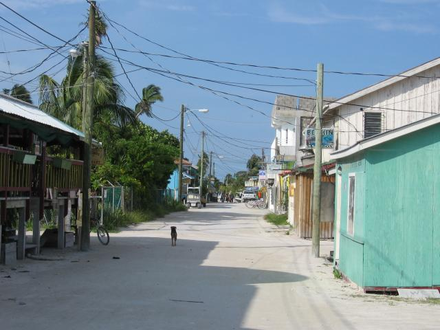 The main street of this idyllic small island off the coast of Belize