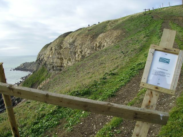 This photo shows a part of the 'Jurassic Coast' costal path in Dorset that has been closed due coastal erosion. 