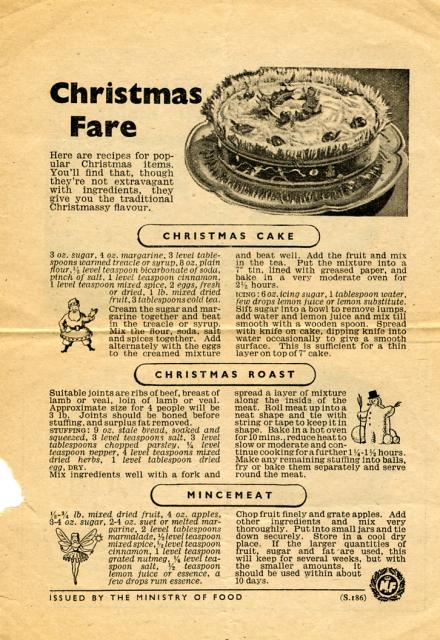 Whilst food rationing was in force through much of the 1940's information sheets were issued by the Ministry of food and others showing how you could make your food ration go further. This information sheet offers suggestions for Christmas food.