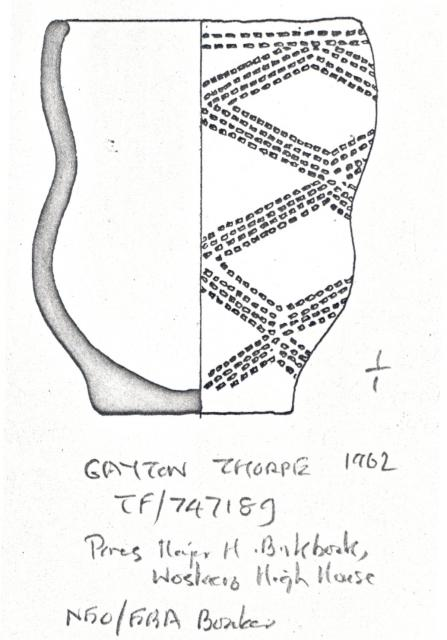A complete Neolithic pot found in Gayton Thorpe, NHER 3738. When it was found there was a �black substance� in the bottom of it. What do you think the black substance might have been? � Norfolk Museums & Archaeology Service.