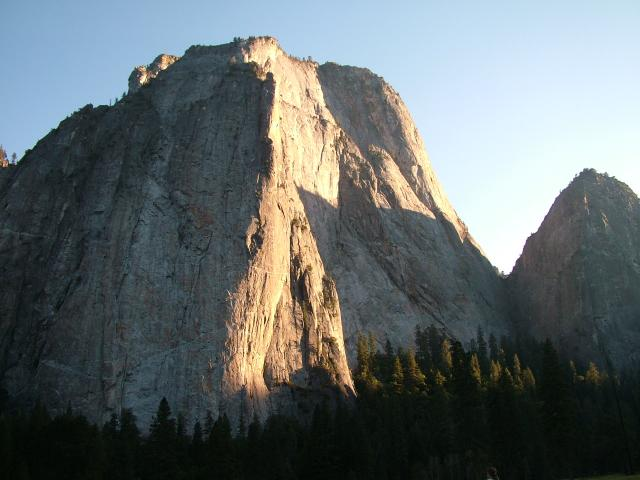 El Capitan is the rock face which dominates the Yosemite Valley area. Its sheer face is over 3000 feet high and in winter becomes a wall of ice as the water tumbling off the top of the rock freezes on its way to the valley floor.