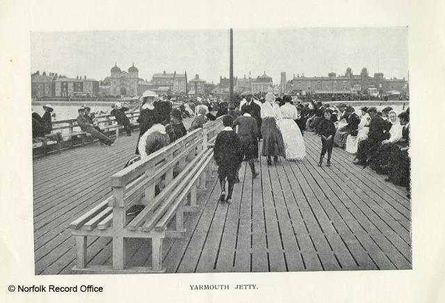 From 'Views of Great Yarmouth and Neighbourhood, Norwich: Jarrold and Son. Pleasure piers were first used in the nineteenth century. This picture shows that going on the pier was a popular past time.