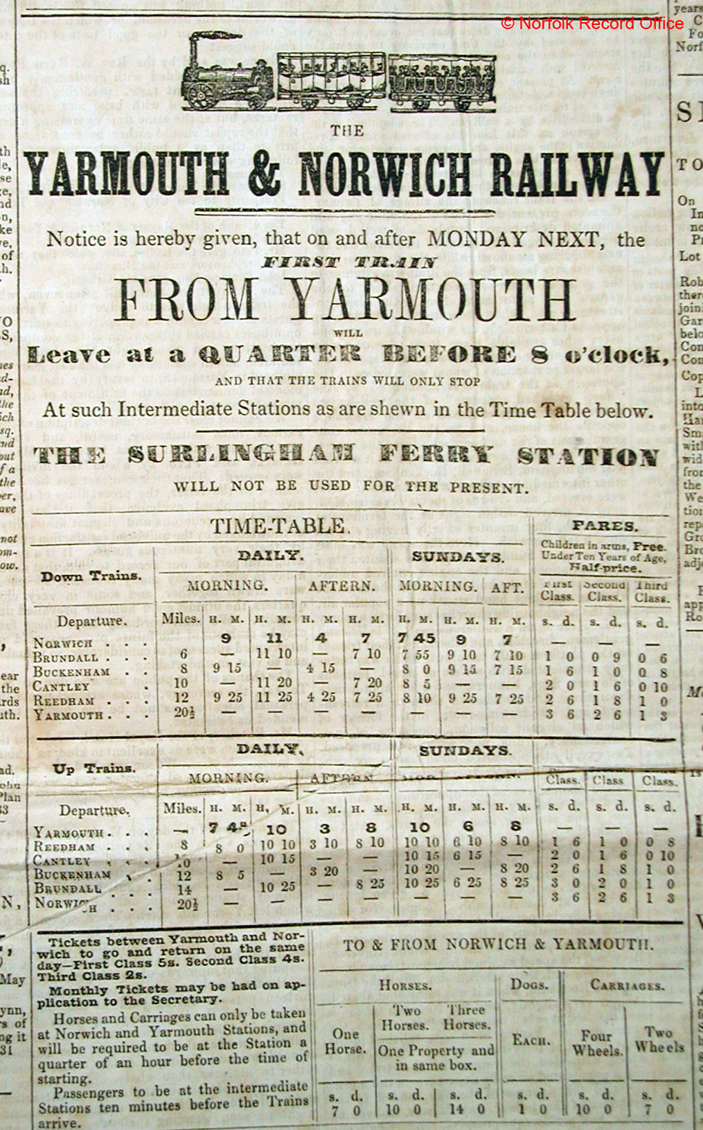 Railway times between Norwich and Great Yarmouth, 1844: NEN Gallery