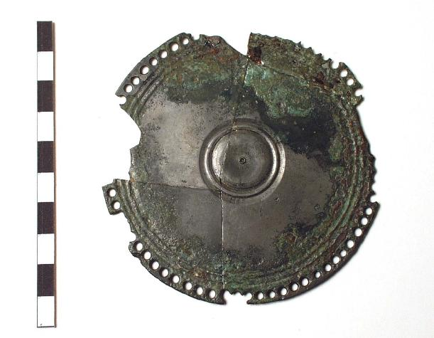 A tinned copper alloy mirror found at Venta Icenorum, NHER 9786. Do you think the mirror had a handle or did it hang from the wall? Copyright Norfolk Museums & Archaeology Service. NWHCM 1894.76.717:A