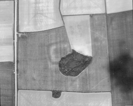 Taken by the RAF in 1946 this photograph records the cropmark of the fort and surrounding enclosure at Thornham. Can you identify the site?
