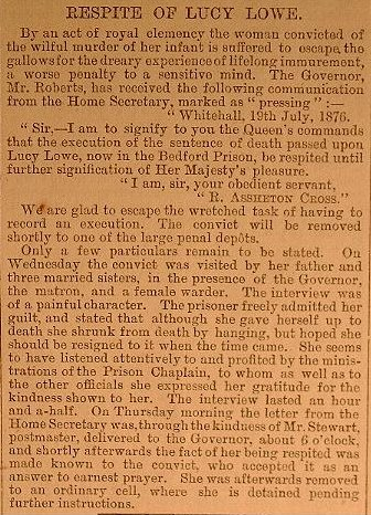 Newspaper report that appeared in the Beds and Independent July 1876 regarding the Royal Respite for Lucy Lowe. 